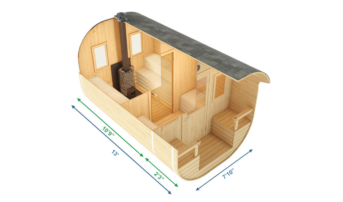 Anna - barrel sauna with an extra-long terrace